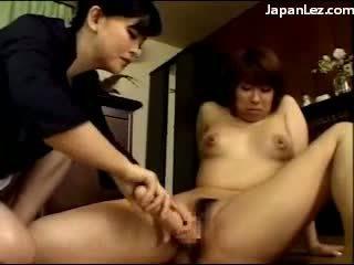 Huge Dildo Fucks Asian Lesbian
