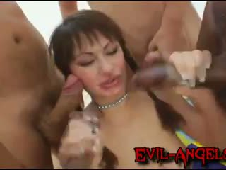 Kid ג'מייקה - anita hengher brutally double אנאלי gangbanged על ידי מפלצת cocks