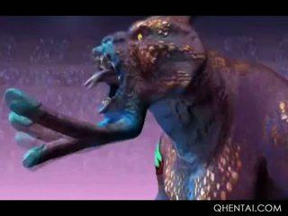 Hentai monstras licking ir dulkinimasis plaukuotas starved putė