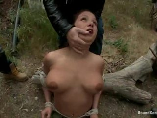 Busty Topless Brunette Charity Bangs Tied And Throat Fucked