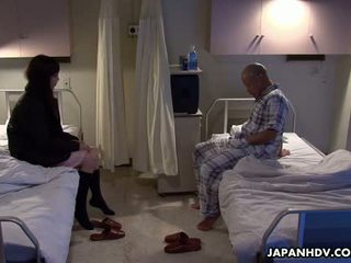Asian patient fucking his visitor with a sex toy