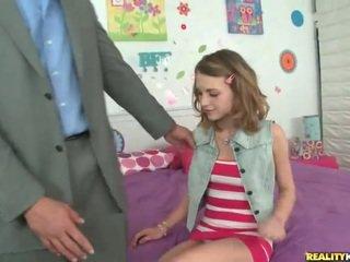 Jauns skolniece kasey chase pick augšup viņai skolotāja