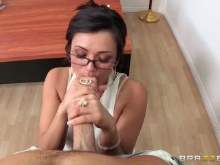 Raunchy teacher showing her toys and is being fucked hard on the table
