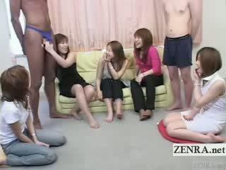 Subtitled bizarre jap CFNM with ebony man in gstring