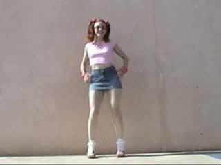 Cute redhead schoolgirl sucking guy cock