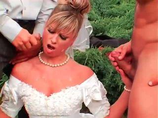 pissing, egyenruha, brides