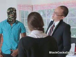 brunette, blowjob, interracial