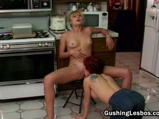 Lesbian Group Fucking In The Kitchen Video