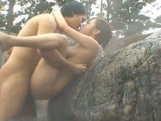 Asian fucked in little outdoor sex party