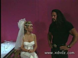Gorgeous bride bones a long haired stripper
