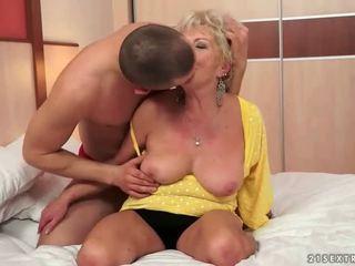 Young man fucks hot busty grandma