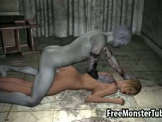 3d tekenfilm blondine gets geneukt hard door een zombie