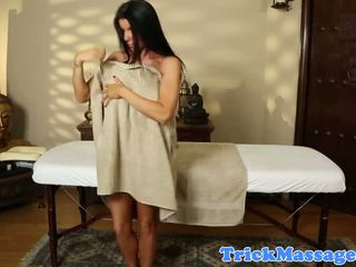 Massage loving brunette in kinky session