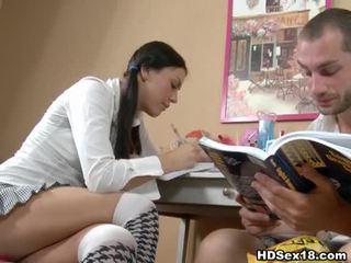 Young brunette turns studying into hot sex