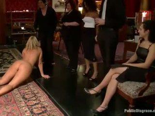 Slutty sex slave receives a public punishment