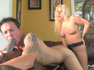 Sexy Sexy Blonde Copulates Tall Lad In The Ass With Big Strap On!