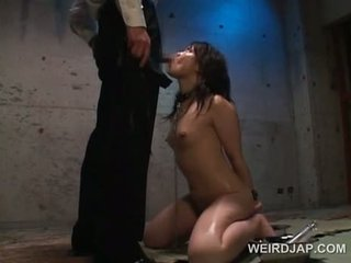Asian petite slave in chains cunt drilled with