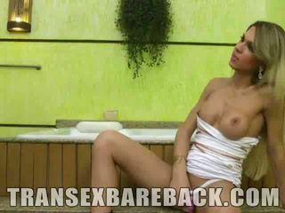 Busty Blonde Tranny Gets Barebacked