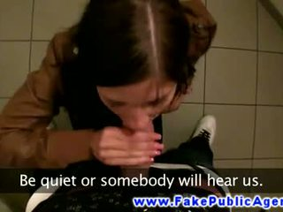 Euro public blowjob in bathroom before fucking her