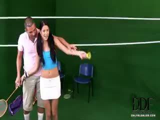 Tennis Babe Slurps A Cock