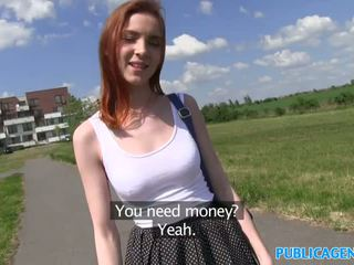 PublicAgent Sexy Redhead student fucked from behind on a hill