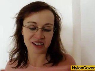 Skinny Emma Diamond nylon mask on her ...