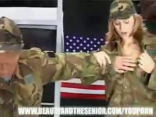 Old soldier getting punished by a young girl