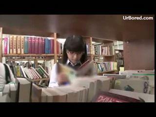 Schoolgirl drilled by library geek 01