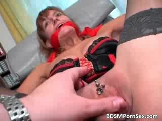 Dirty and filthy MILF spreads her legs