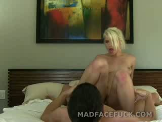 Makeup blonde sucks on a fat cock with her sweet lips working the head