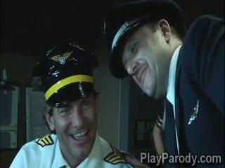 Nadržané pilot gets šťastný s veľký korisť blondýna passenger