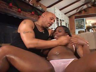 Sizzling ebony diva enjoying monster white cock for hot hunk