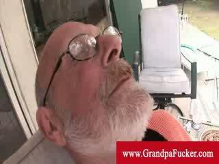 Insatiable blonde perverting a grandpa