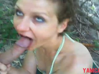 Girl Gives A Blowjob In The Woods