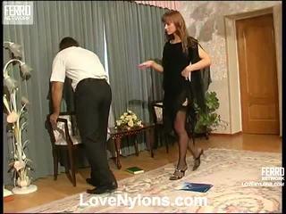 Diana et lesley videotaped whilst having nylonsex