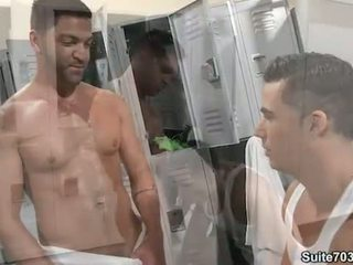 Gays Dominic and Topher fuck in locker room