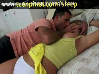 Blondinke bejba zajebal medtem spanje v a hotel soba