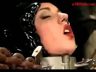 Girl Tied In Strait Jacket Getting Dildo To Pussy Tortured With Jets By Master In The Dungeon