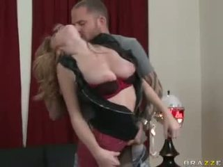 Horny white chick Faye Reagan chokes herself with a massively hard meatpole