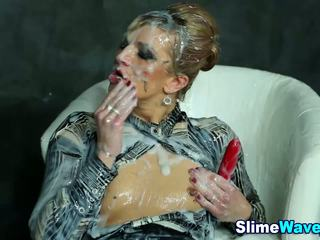 Euro slet gets drenched in fake sperma