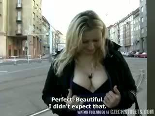 große brüste, im freien, blondine