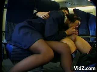 Stewardess fucks guy in the plane