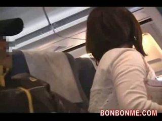 Plane geek fucks girl and gives facial...
