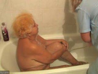 bbw, granny, shower