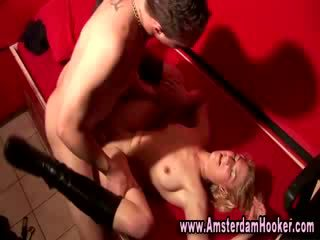 Blonde hooker in sexy boots gets a cumshot