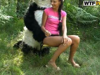 Molly jāšanās apaļš panda uz the atvērts gaisa