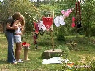 Junior Nymph Shagging In The Garden