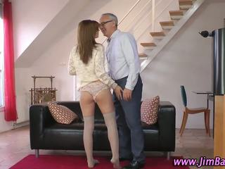 Amateur in stockings sucks and fucks her older lover