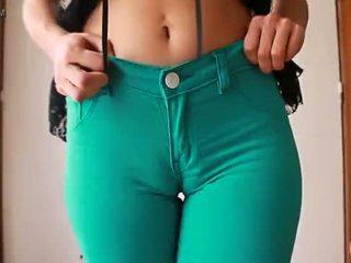 Sweet Cameltoe In Tight Green Denim Je...