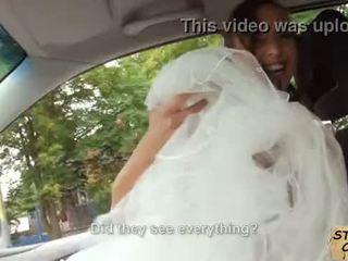Stranded bride fucks in wedding gown by stranger